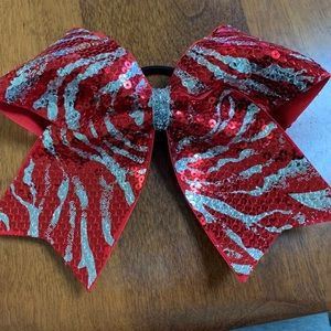 Accessories - Red & Silver Zebra Cheer/Dance Bow